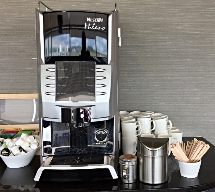 Coffee machines galore in the Aspire Lounge at Birmingham Airport