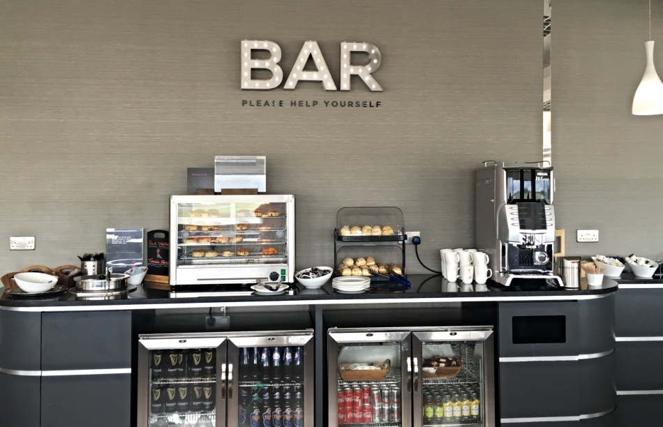 Help yourself bar at Aspire Lounge at Birmingham Airport