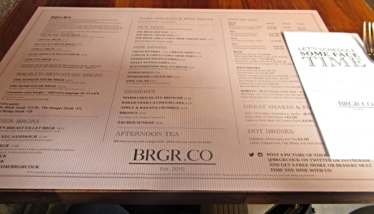 Menu at BRGR.CO in Soho, London. Alternative afternoon tea