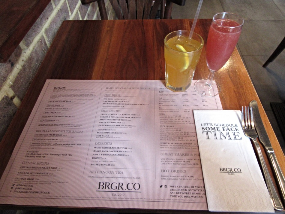 Drinks & menu at BRGR.CO in Soho, London. Alternative afternoon tea.