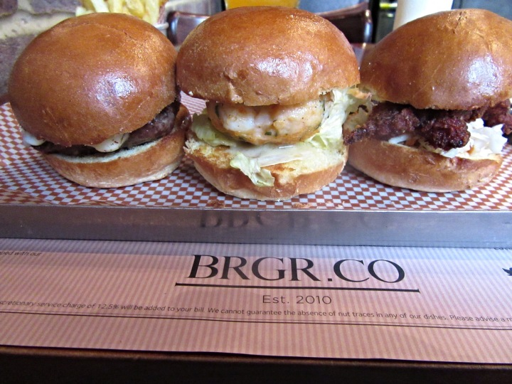 Burgers at BRGR.CO in Soho, London. Alternative afternoon tea.