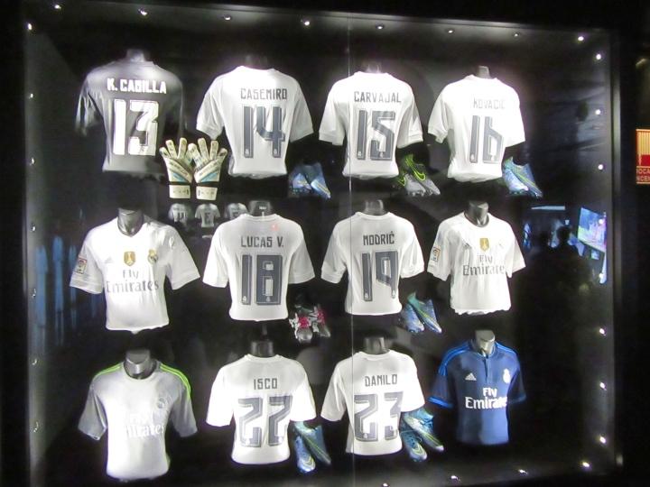 More shirts on display at the Bernabeu, Madrid