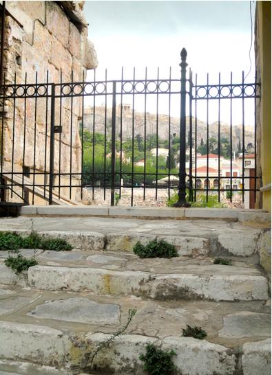 View of Acropolis from Plakas alleyways