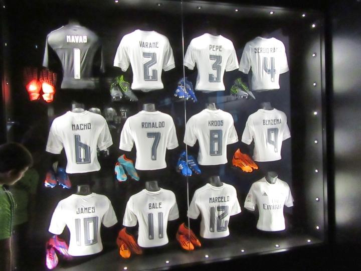 Shirts on display at the Bernabeu Stadium, Madrid