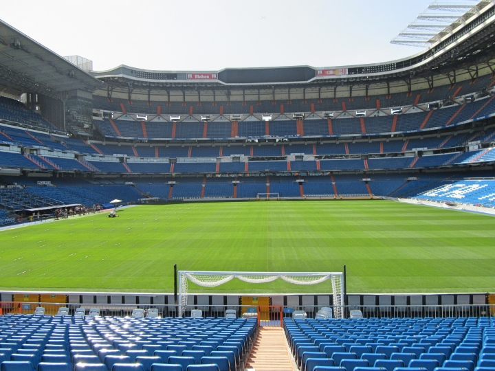 View from behind the goal at the Bernabeu Stadium, Madrid