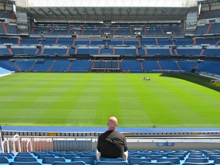 View of the pitch inside the Bernabeu, Madrid