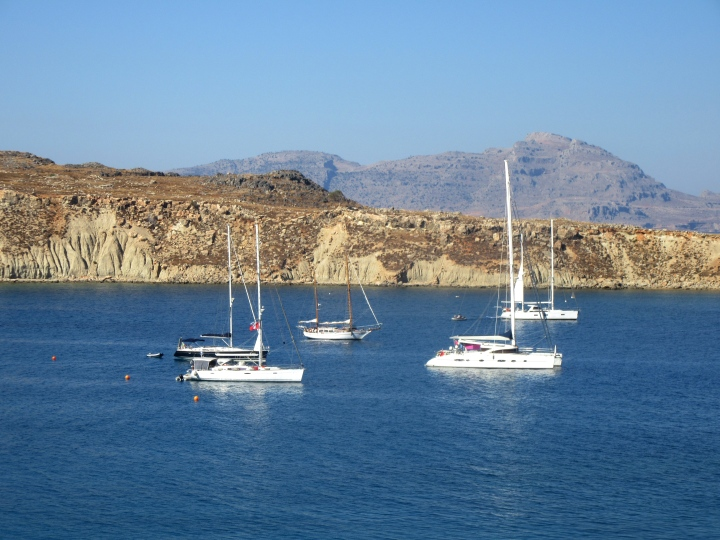 Boats at Lindos Bay in Lindos, Rhodes