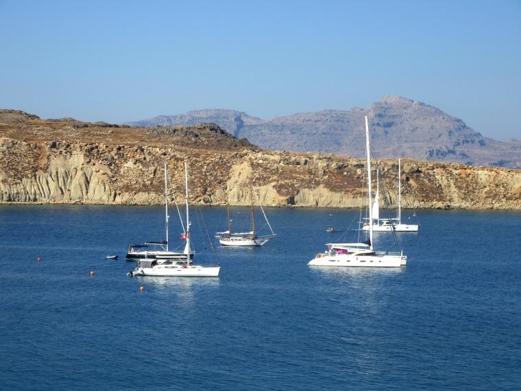Boats at Lindos Bay in Lindos, Rhodes