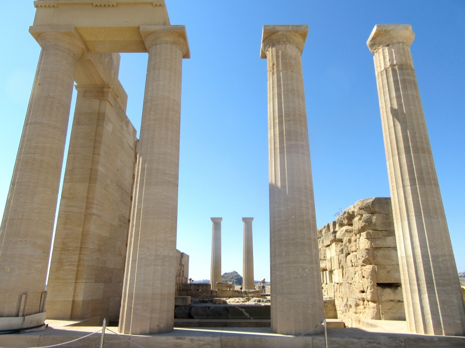Columns at the Acropolis in Lindos, Rhodes