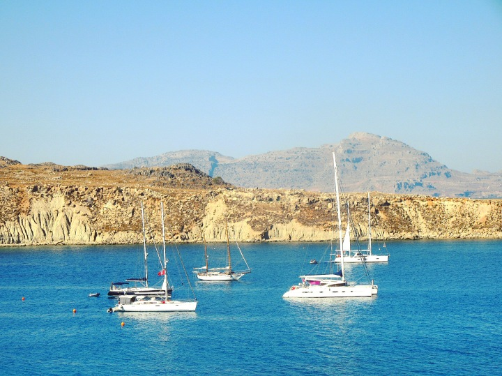 The crystal clear waters of Lindos, Rhodes