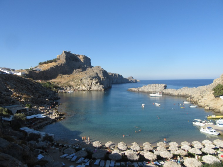 The Acropolis from St Paul's Bay, Lindos, Rhodes