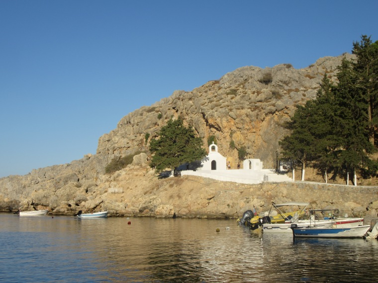 The beautiful chapel, St Paul's Bay in Lindos, Rhodes