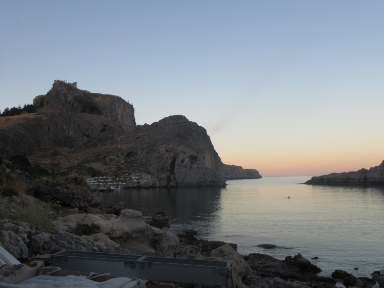 Sunset at St Paul's Bay in Lindos, Rhodes