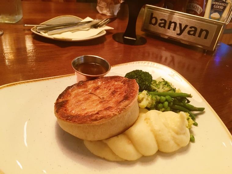 Steak pie at Banyan Bar & Kitchen Roundhay, Leeds