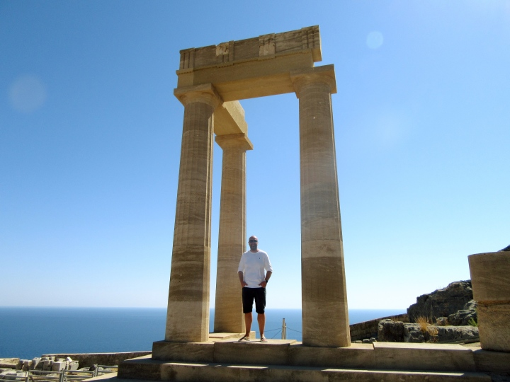 Mr ESLT at the Acropolis in Lindos, Rhodes