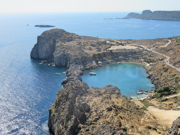 The heart shaped St Paul's Bay in Lindos, Rhodes