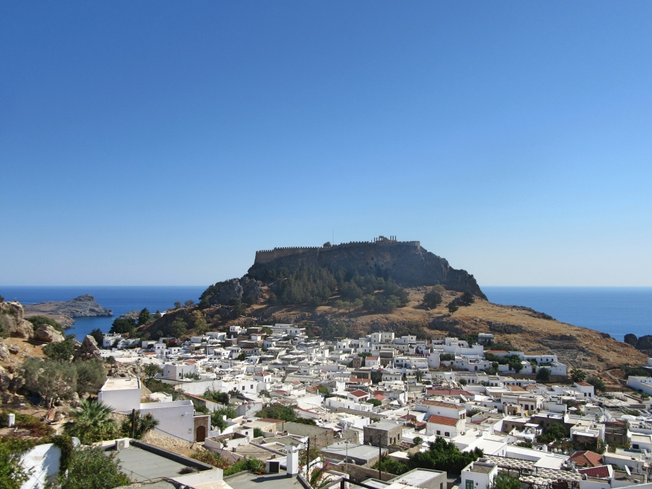 View of Lindos and the Acropolis from our apartment, Rhodes