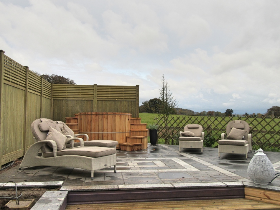 Outdoor spa area at SPAshell at Fishmore Hall, Hotel, Shropshire