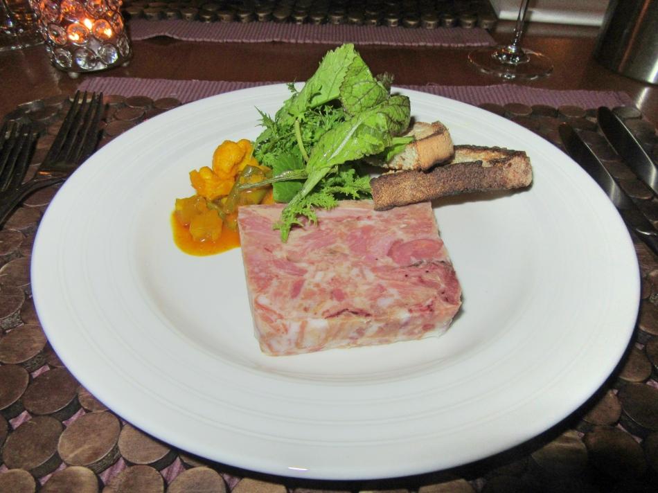 Ham hock terrine at Fishmore Hall Hotel, Ludlow