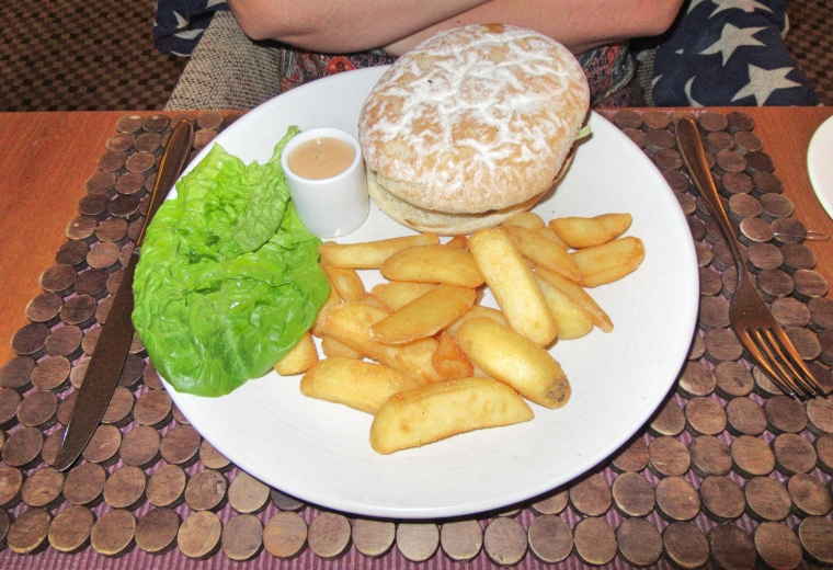 Wild boar and apple burger, blue cheese, chips at Fishmore Hall Hotel, Ludlow