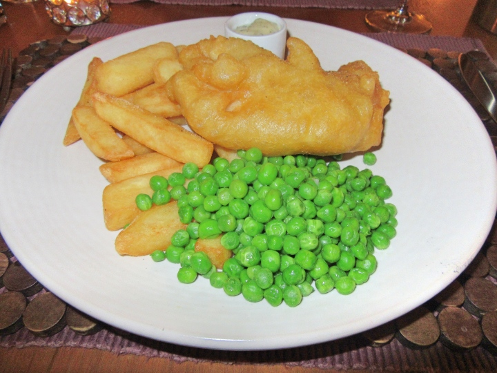 Beer battered Plaice, chips, peas, tartar sauce at Fishmore Hall Hotel, Ludlow