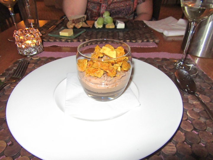 Potted chocolate, honeycomb at Fishmore Hall Hotel, Ludlow