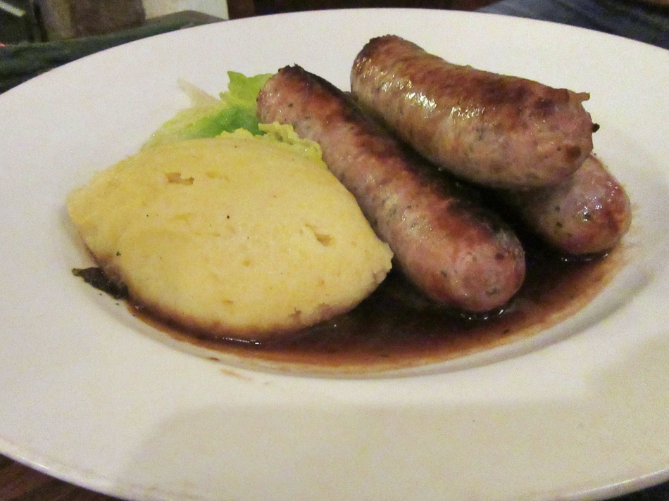 Sausage and Mash at The Angel Inn, Hetton, North Yorkshire, England