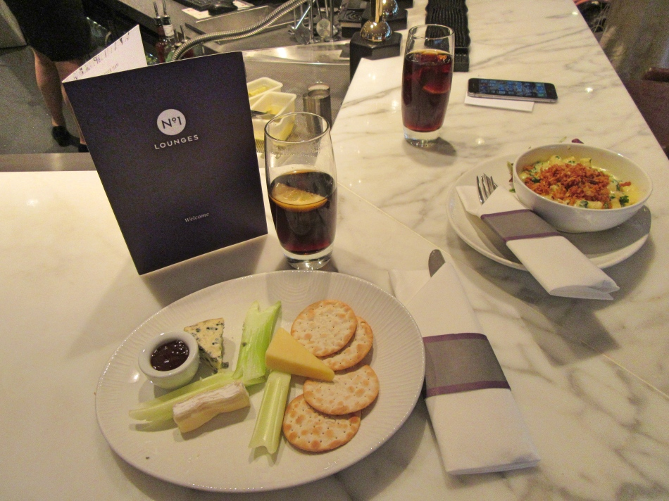 Food at No1 Airport Lounges at Gatwick South Terminal