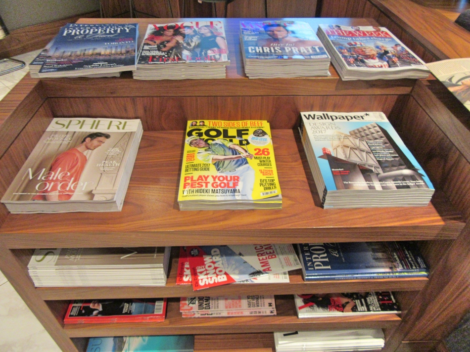 Magazines at No1 Airport Lounges at Gatwick Airport South Terminal