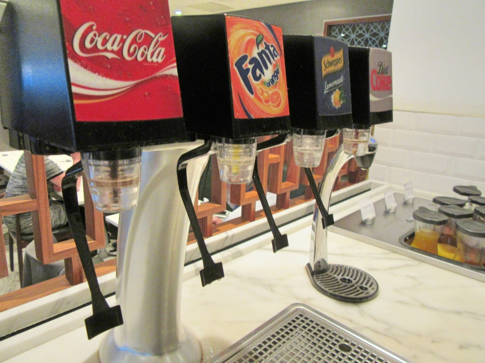 Soft drink station at No1 Airport Lounges at Gatwick Airport South Terminal