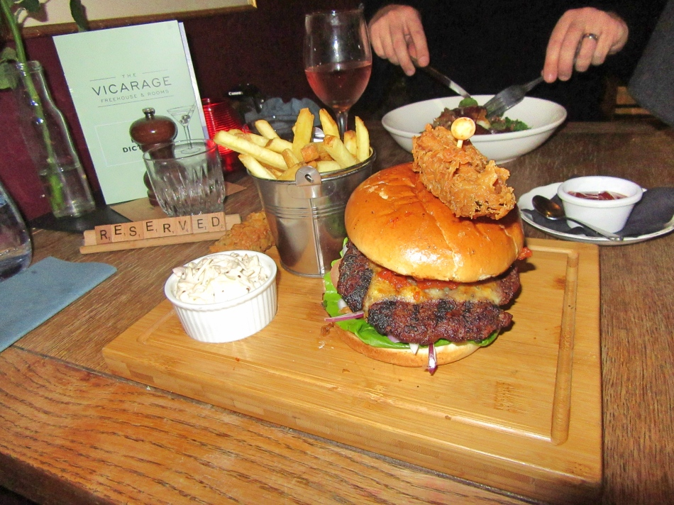 Burger at The Vicarage, Cranage, Cheshire, England