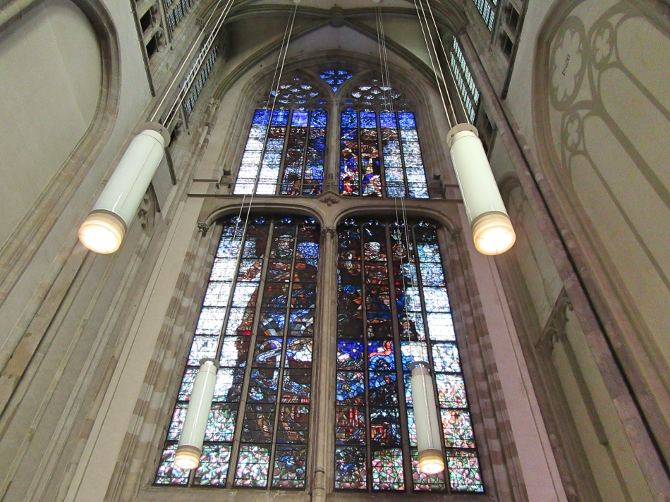 Stain Glass window at St Martin's Cathedral (Dom Church) in Utrecht, The Netherlands