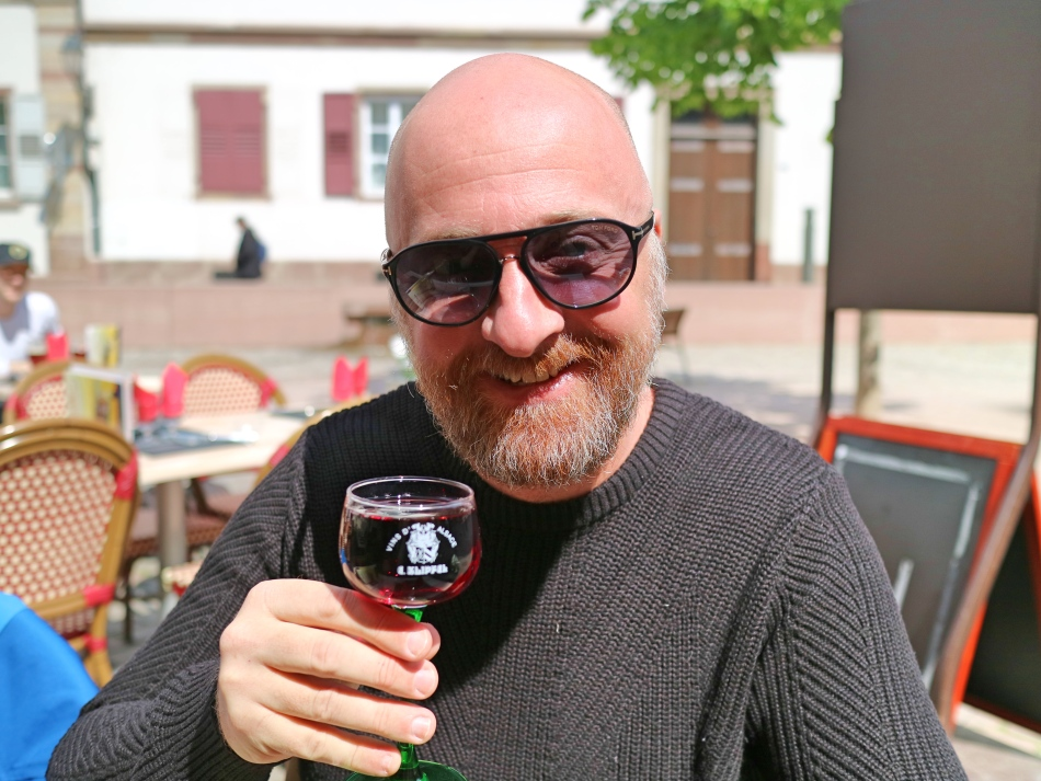 Mr ESLT drinking wine in Strasbourg, France