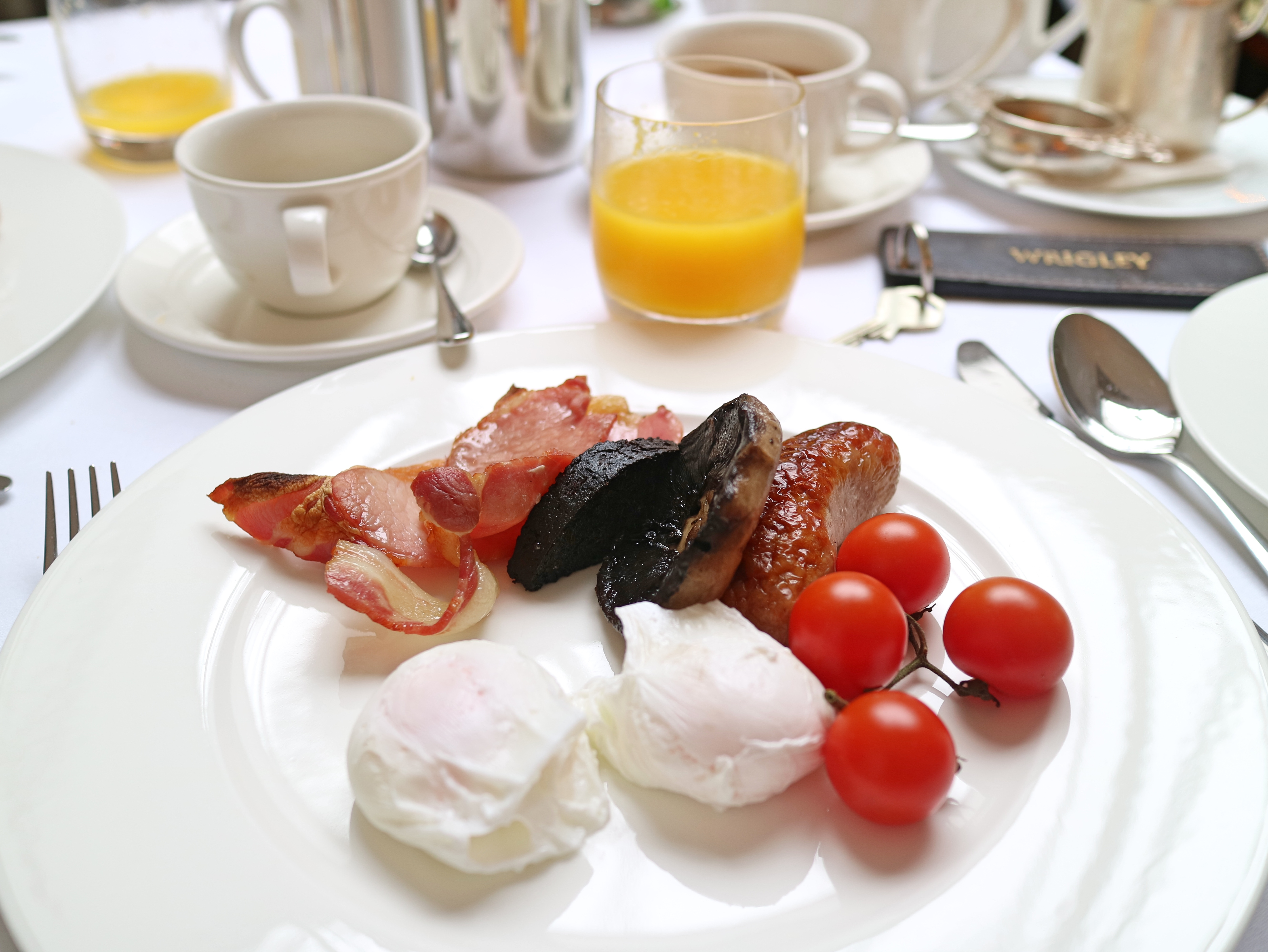 Cooked breakfast at Lords of The Manor, The Cotswolds