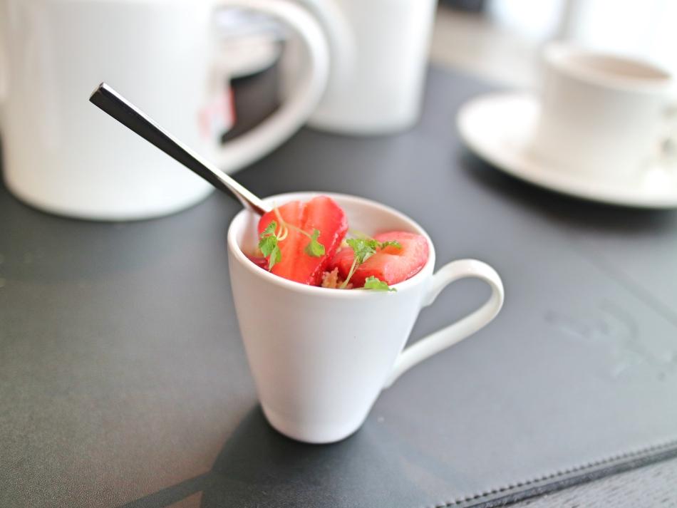 Strawberries and Custard at Twr y Felin Hotel