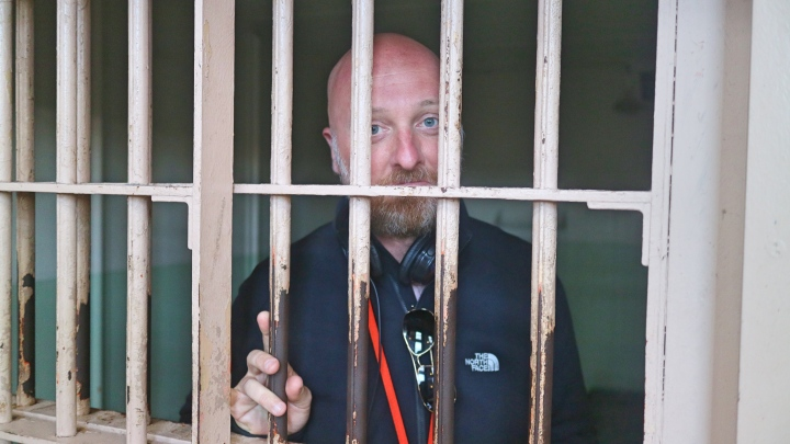 Mr ESLT in a cell at Alcatraz