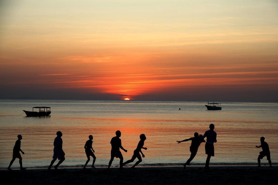 Football at Sunset in Zanzibar