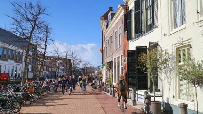 Bikes on street in Leiden, The Netherlands