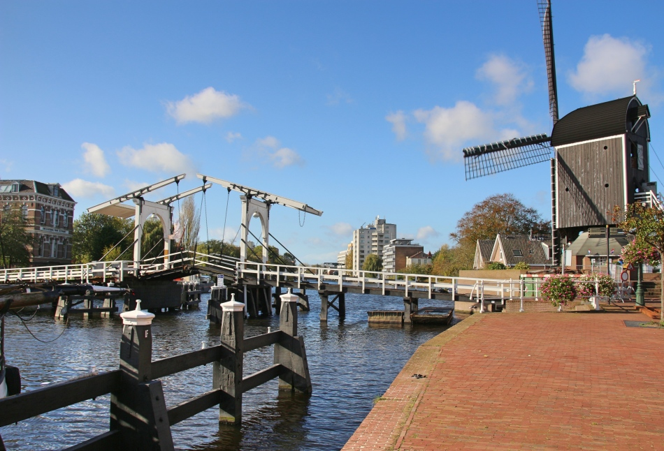 Renbrandt Bridge and Molen De Put, Leiden, The Netherlands