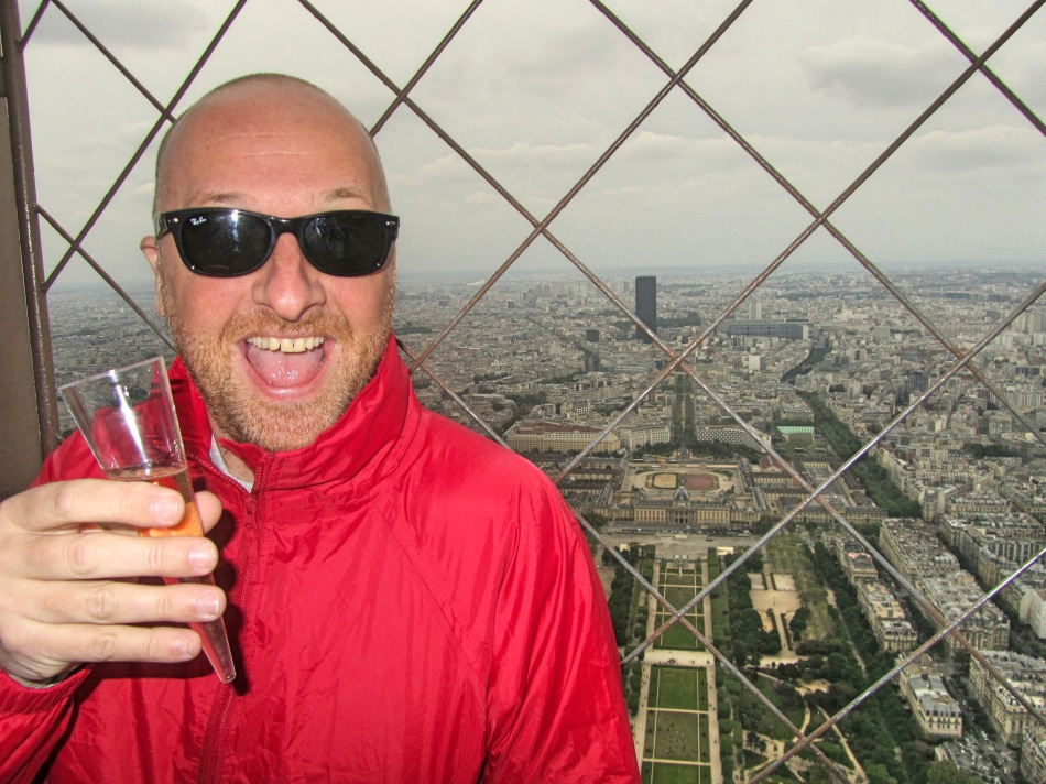 Mr ESLT at the top of the Eiffel Tower, Paris, France