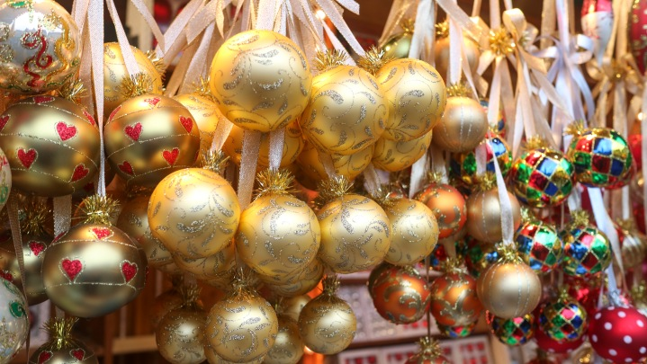 Baubles at Frankfurt Christmas Market