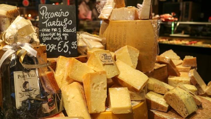 Cheeses at Rotterdam Market Hall, The Netherlands