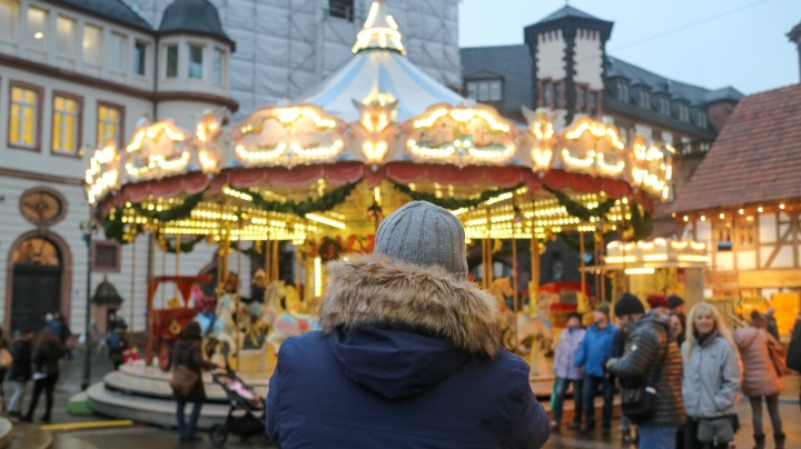 Mr ESLT and merry go round at Frankfurt Christmas Market