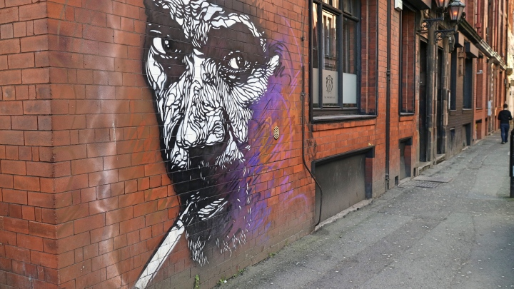 Street Art on Buildings in The Northern Quarter, Manchester